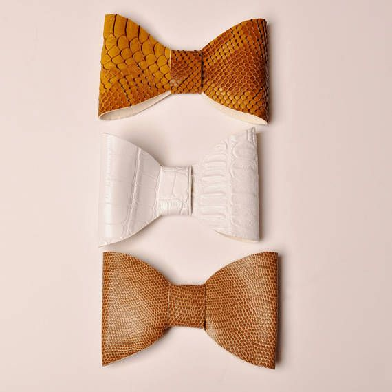 Mans Bow tie pretied single bow White Golden Brown and Light Brown Cross Bow