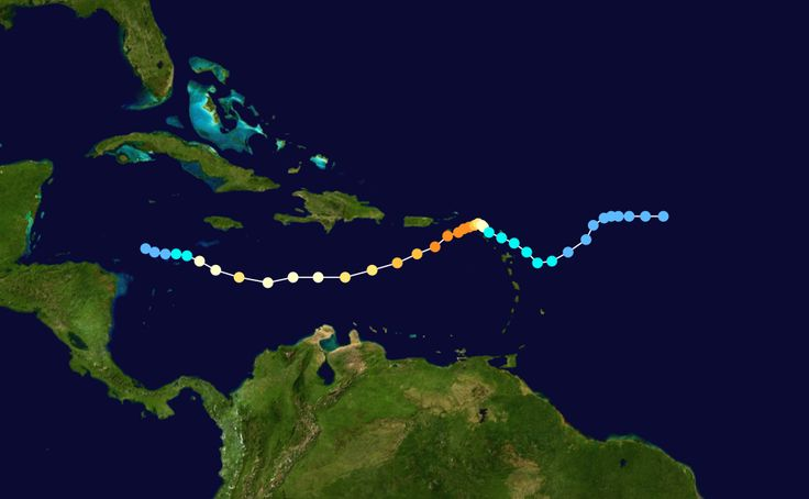 Map plotting the track and intensity of the storm according to the Saffir–Simpson hurricane wind scale