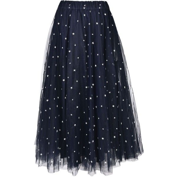 Long Tulle Skirt From Parosh: Blue Long Tulle Skirt With Elasticated... (£245) ❤ liked on Polyvore featuring skirts and fantasia