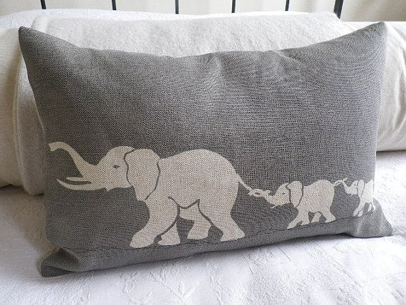 hand printed greys elephant family cushion cover by helkatdesign