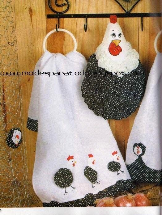 Moldes para Todo: - Kit de Cocina Gallinitas -   toallas decoradas ...