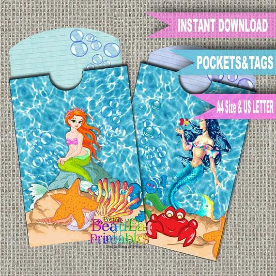 Printable Mermaid Tags Mermaid Pocket tag Ocean Sea Pocket