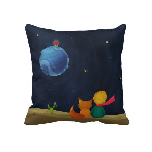 The Little Prince and Fox Looking at Starry Night Pillow