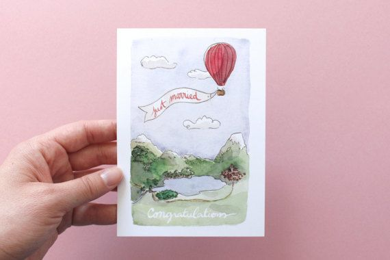 Congratulations card for a wedding. #ballon #mountains #nature
