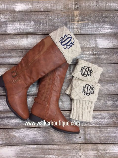 www.walkerboutique.com LOVE the monogram boot cuffs!