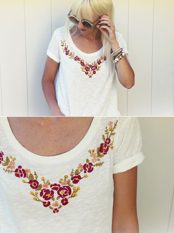 Bordado de flores en una camiseta / Floral embroidered top
