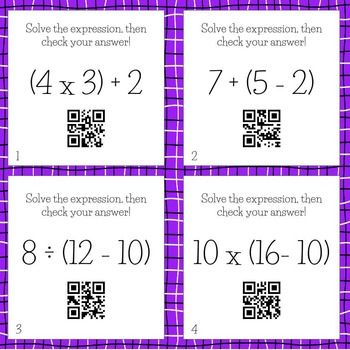 Numerical Expression Task Cards! Great resource for student centers or independent work. Students solve the numerical expressions, then scan the QR code to check their answer. Recording sheet included!