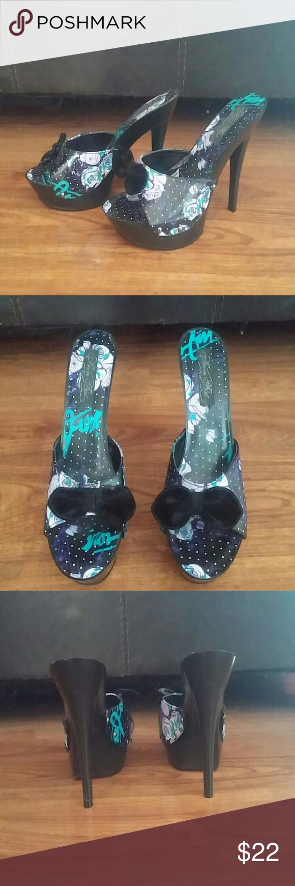FINAL PRICE Iron Fist Platform Heels BRAND NEW never worn before black Iron Fist heels with white polka dots and purple and blue rose floral pattern. Also has small black velvet bows! Iron Fist Shoes Heels