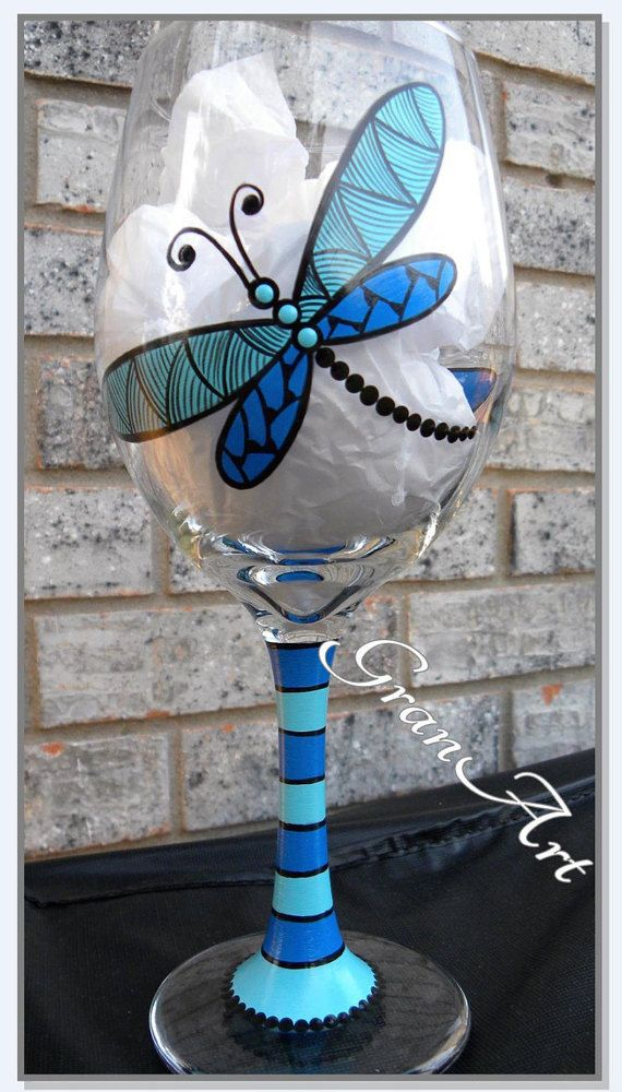 Turquoise and Blue Dragonfly Wine Glass. Hostess Gifts, Party Favors, Friend Gift. Hand Painted Wine Glasses by GranArt