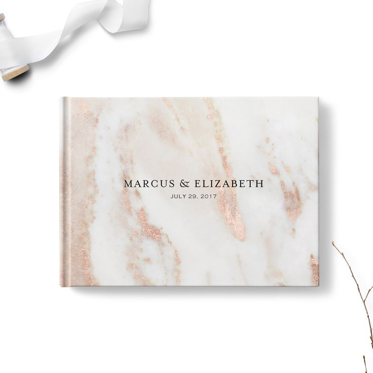 Rose Marble Wedding Guest Book