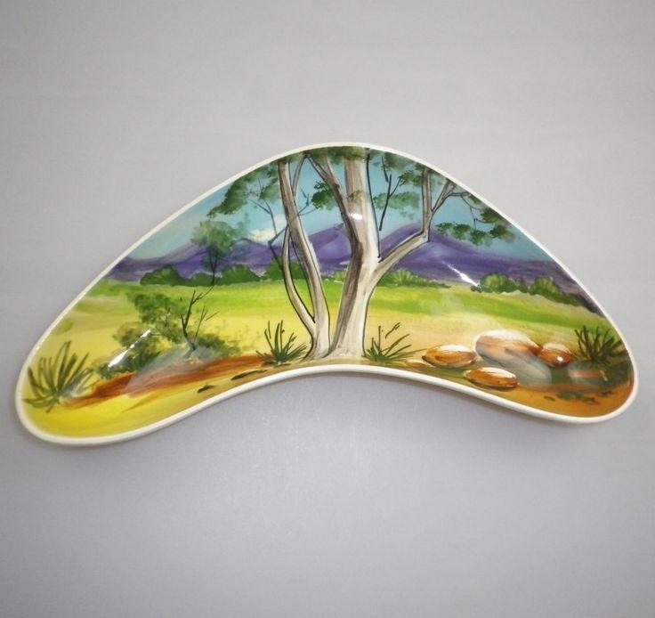 Diana Pottery NORMAN SHERRATT Handpainted BOOMERANG Dish