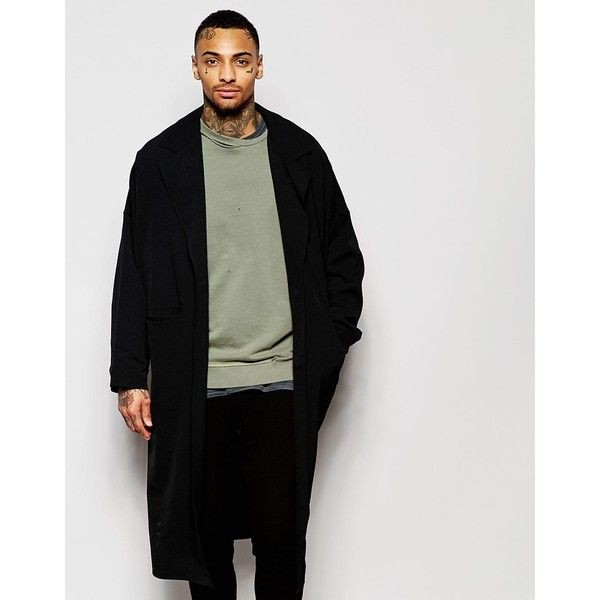 ASOS Duster Coat With Magnet Fastening in Black ($42) ❤ liked on Polyvore featuring men's fashion, men's clothing, men's outerwear, men's coats, black, tall mens coats and asos mens coats