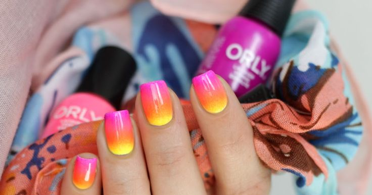 neon gradient nails with orly pacific coast highway collection mini kit