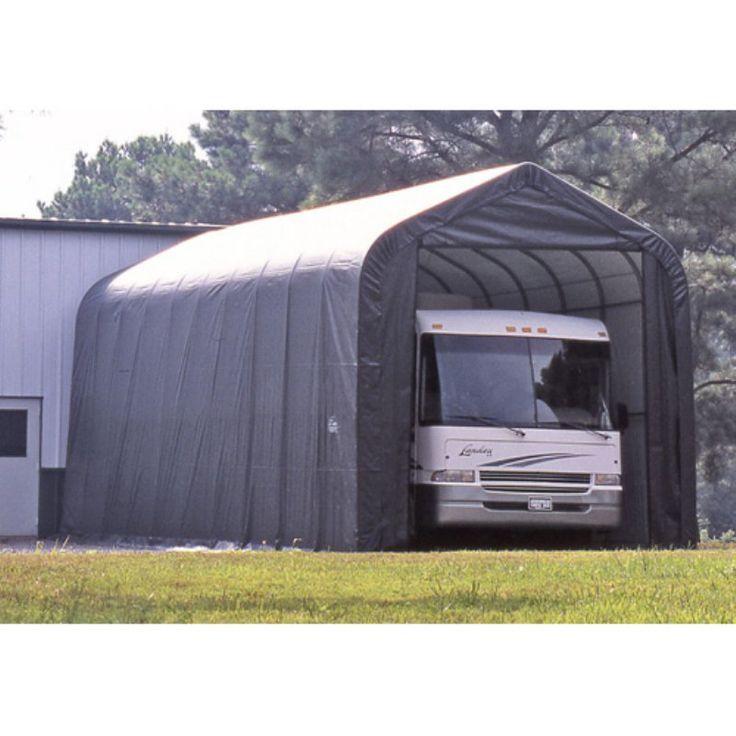 ShelterLogic 14 x 40 x 16 ft. Peak Style Boat/RV Canopy Carport Gray - 95843
