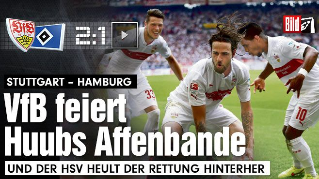 Affengeiles Spiel: VfB Stuttgart gewinnt Überlebens-Endspiel - Bundesliga Saison 2014/15 -   Hier tanzt Stuttgarts Affenbande! Harnik hat den Oberkörper vorgebeugt und lässt die Hände hängen, macht so einen Orang-Utan nach. Didavi (r.) und Ginczek (l.) tanzen mit http://www.bild.de/sport/fussball/vfb-stuttgart/stuttgart-feiert-huubs-affenbande-40978826.bild.html