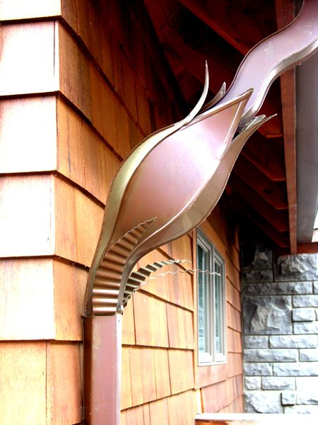 Tulip downspout - Art of Rain decorative downspouts, Vancouver, WA