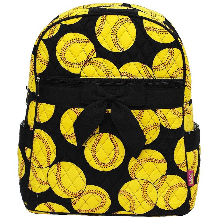 Softball Print Quilted Backpack. Zipper Closure, Ribbon Accent. The Two Side Open Pockets, Metal Feet on the Bottom. Open & Zippered Pockets Inside, Materials: Cotton. 14 2/4(L) x 10 3/4(H) x 5 1/2(W). Monogrammable, however WE DO NOT MONOGRAM!.
