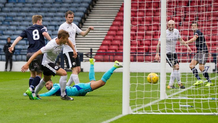 Queen's Park's Dominic Docherty scores during the Betfred Cup game between Queen's Park and Edinburgh City.