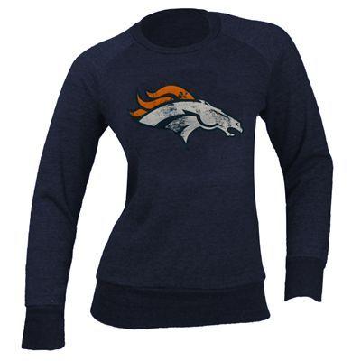Denver Broncos Women's NFL Tri-Blend Fleece Crew Sweatshirt (Navy)