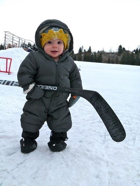 Little baby hockey player! Aww