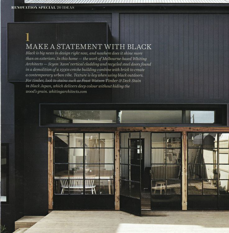 Black cladding with exposed timber beams