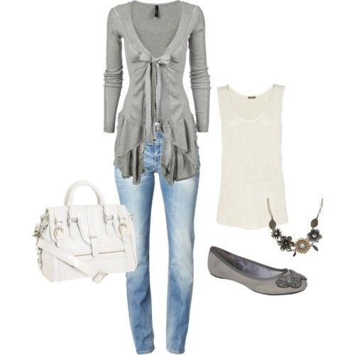 Love that cardiganCardigans, Fashion, Skinny Jeans, Style, Clothing, Closets, Grey Sweaters, Bows, Cute Outfit
