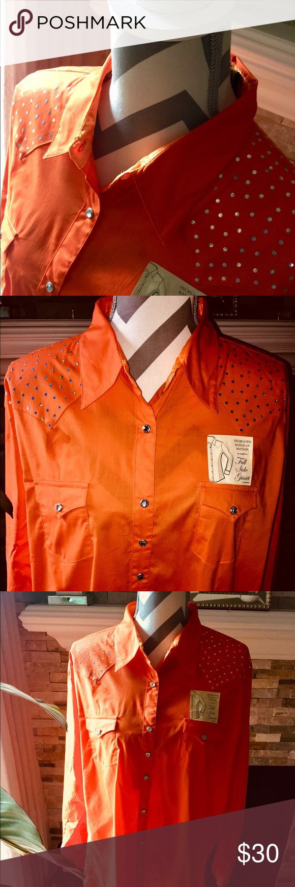 Wrangler Women's Rhinestone Snap Western Shirt Wrangler® Women's Solid Orange with Rhinestone Snaps Long Sleeve Ultimate Riding Western Shirt   Cavender's. Size 3XL NWOT Wrangler Tops Button Down Shirts