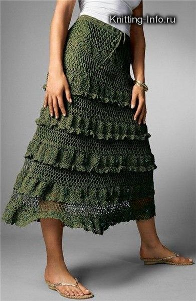 Forest Green Skirt with variations free crochet graph pattern