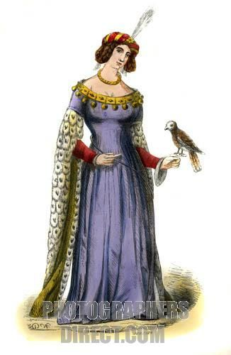 Lady French costume of the 15th century , showing a rolled hat with feather , dress with hanging sleeves , and collar hung with small bells . A falcon perches on her left hand , as was the fashion among nobles from the 14th 16th centuries . c . 1847 , hand painted copy from a 15th century art . stock photo