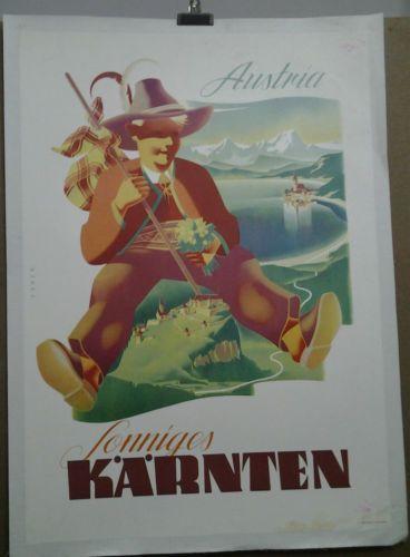 AFFICHE-ANCIENNE-SONNIGES-KARNTEN-AUTRICHE-AUSTRIA-OSTERREICH-EBNER
