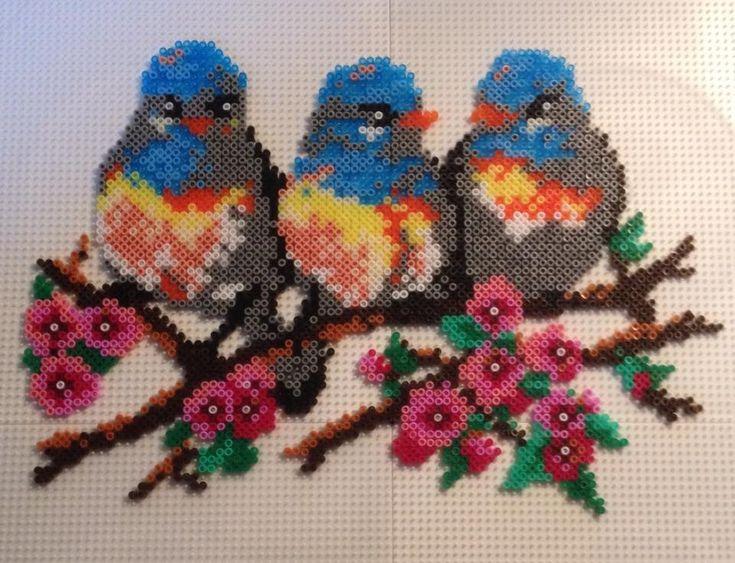 Birds Hama mini beads by Gitte Berg