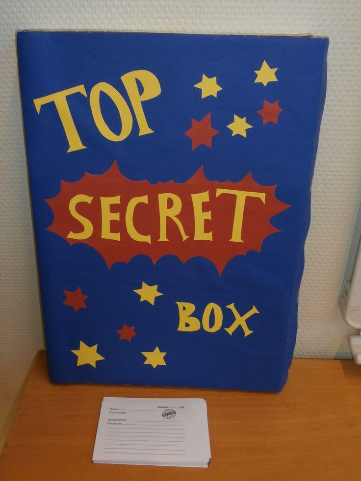 Top secret box. Leerlingen kunnen op deze wijze dingen van zich afschrijven. De post is of anoniem of met naam, bedoelt voor de leerkracht of voor de groep. Goede manier om een klassengesprek te voeren met de lln.