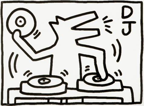Kleurplaat DJ Keith Haring