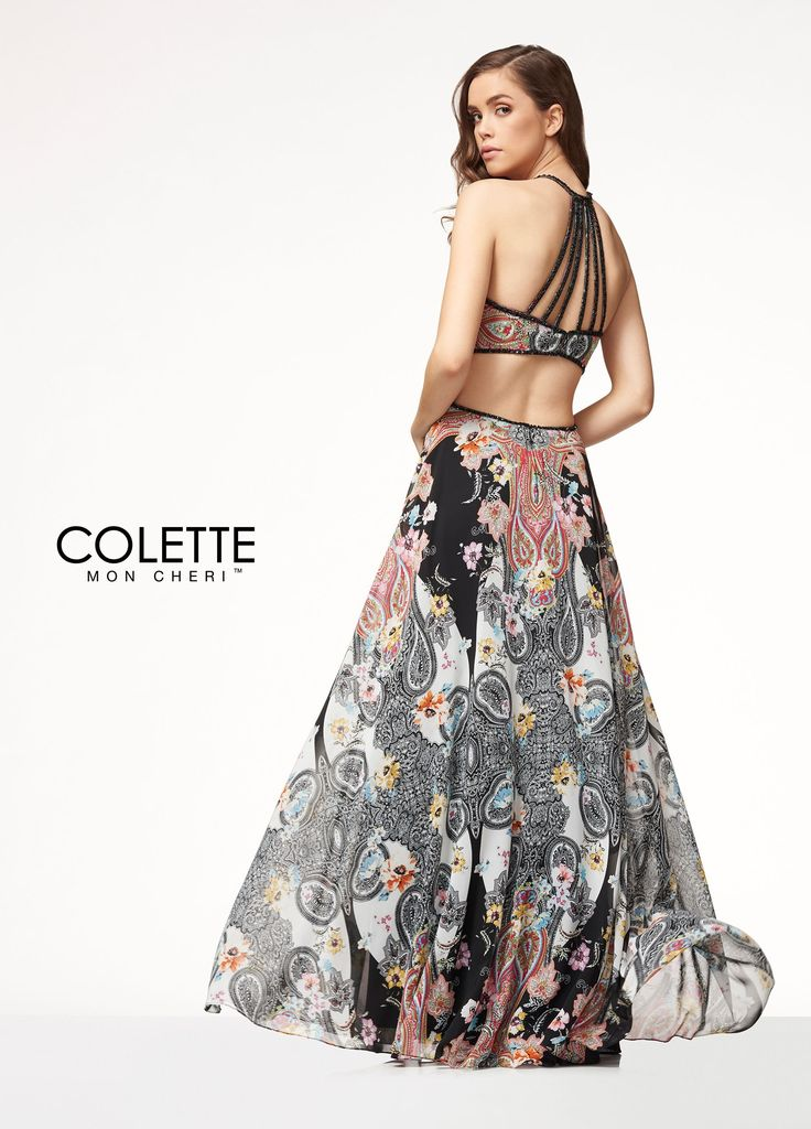 Colette for Mon Cheri CL18294 - Live out loud in this beautiful bohemian designer a-line dress! Made of a lavish printed chiffon, its vibrant paisley pattern will make you stand out in the crowd. This trendy dress also features cut-outs at the midriff and a strappy open back.
