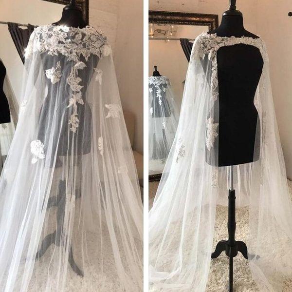 Ivory White Cape Bridal Wedding Shawl Cathedral Shoulder veils Tulle Long cloaks