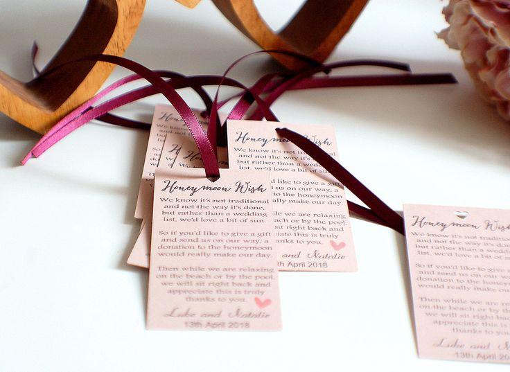 Honeymoon Wish cards, wedding present cards, wedding cards, pearlescent cards, wedding gift, bride and groom gift, wedding present by TPDWeddingStationery on Etsy