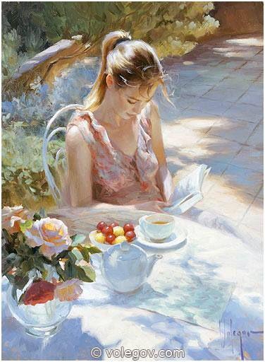 """Tea and plums"", 81x65 cm, oil on canvas, 2014  www.volegov.com  #plum #tea #sun…"