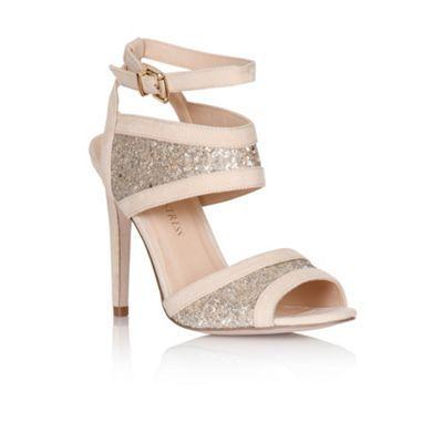 Little Mistress Nude glitter insert peep toe heels- at Debenhams.com