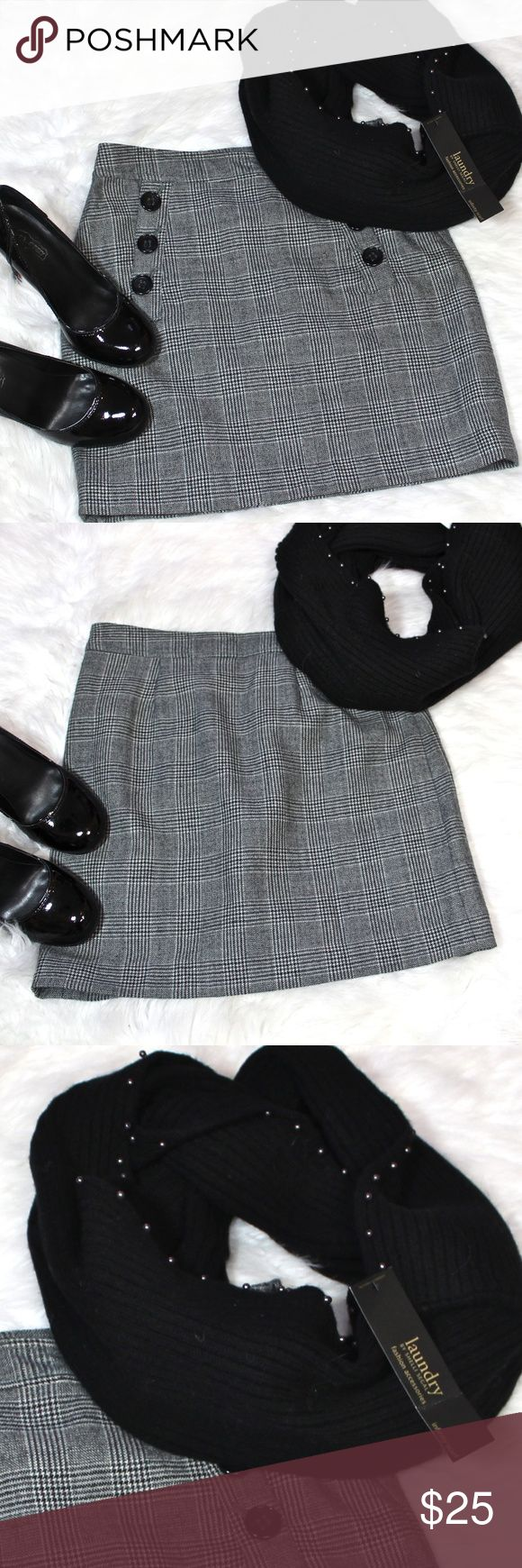 """NEAR NEW & REDUCED! BR Wool Plaid Button Skirt ☀️Banana Republic 100% Wool Plaid Skirt with button front. Grey, creme, black & green. Perfect for work or play! Near New condition Working pockets Hidden side zipper Hook & eye closure No snags or stains Fully Lined 16"""" long 36"""" hem opening  ★BUNDLE with Beaded Infinity Scarf & shiny Oh Deer! heels shown—OR ANY of the MANY accessories  IN MY CLOSET★   ☀️Items $10 & under are firm unless bundled.☀   ★NO Low Ball offers please!★ Raising money for…"""