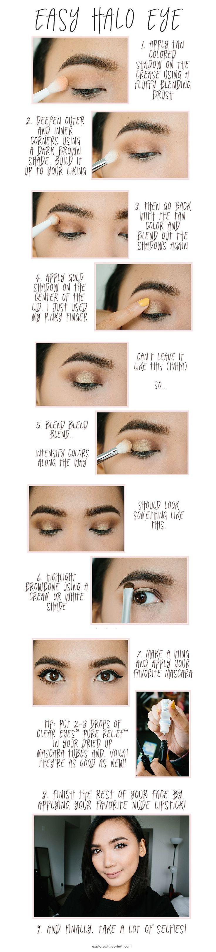 Easy Halo Makeup Tutorial   http://explorewithcorinth.com/blog/easy-glam-halo-eye-makeup-look #MyPureRelief #Sponsored