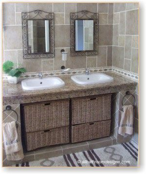 i'm really digging the rustic looks..: Small Bathroom Design, Guest Bathroom, Small Bathroom Storage, Bath Vanities, Bathroom Designs, Rustic Bathroom Vanities, Bathroom Cabinets, Bamboo Ideas, Design Bathroom