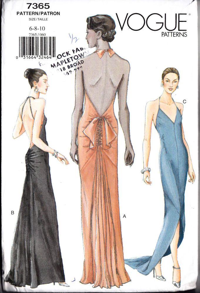Vogue Sew Pattern 7365 Evening Bias Gown Slip Dress 6 8 10