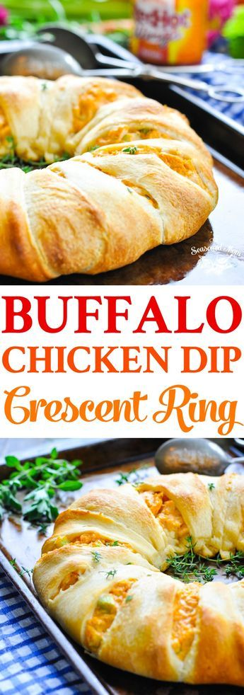 Buffalo Chicken Dip Crescent Ring is an easy appetizer or a fast weeknight dinner! Appetizers for Party | Chicken Recipes | Dip Recipes | Easy Dinner Recipes #appetizers #chicken #dinner