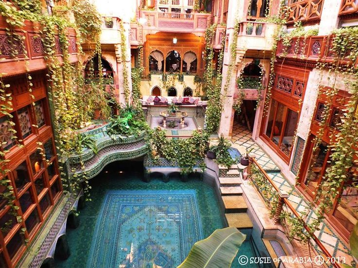beautiful architecture, middle eastern style, Persian carpet theme pool, Atrium, courtyard