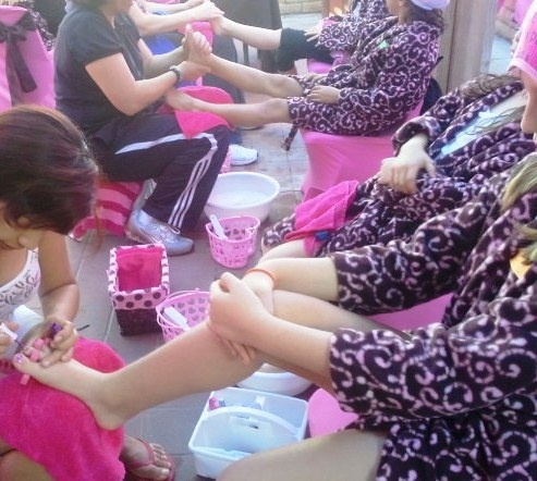 Chair Covers Cheap Rental Hair Cutting Spa Party Set Up, Pedicure Station, Decorations, Activities, Kids ...