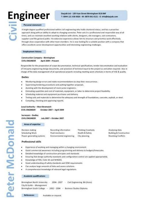 sample resume civil engineer project manager