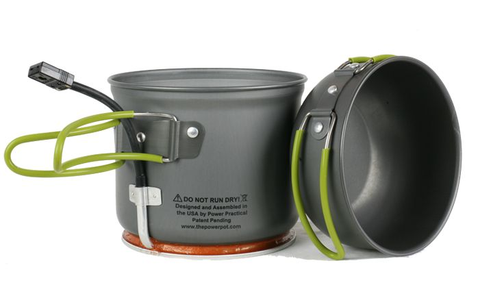 The PowerPot is a cooking pot that doubles as a portable electric generator. It can be used indoors or outside and works with any fuel source. Unlike solar power, The PowerPot works day or night, rain or shine to bring you the electricity you need anytime, anywhere. $125