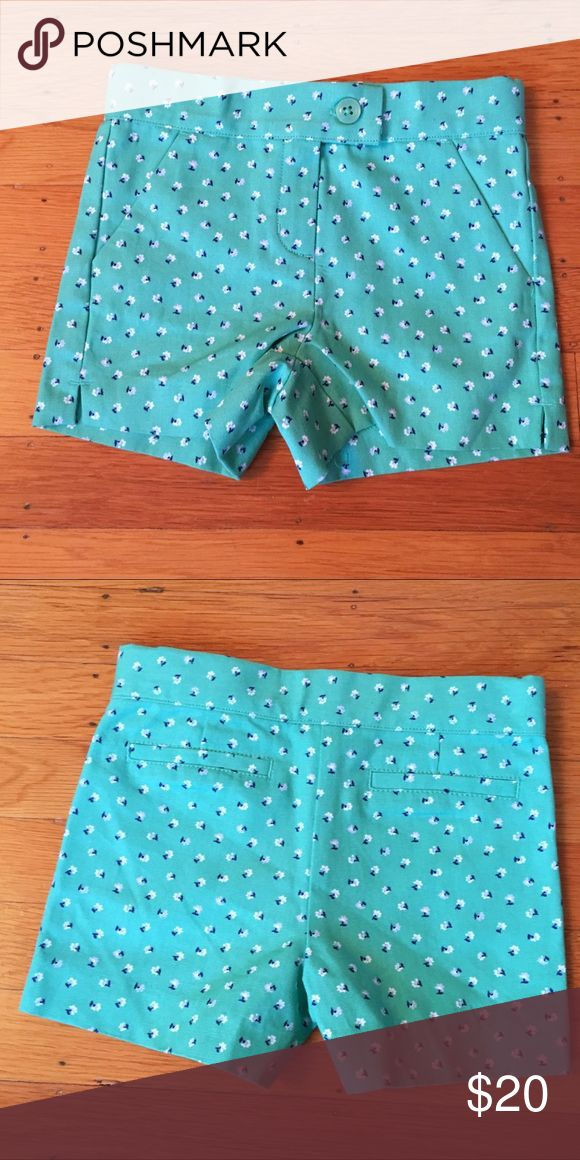 Janie and Jack shorts Teal aqua shorts with tiny blue and white flowers.  NWOT Janie and Jack Bottoms Shorts