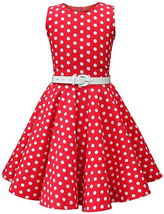 5e9e6896d BlackButterfly Niñas 'Audrey' Vestido de Lunares Vintage Años 50 (Rojo, 13-14  Años): Amazon.es: Ropa y accesorios