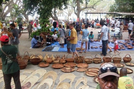 One of the best markets in PNG is Ela beach craft market. This thriving, bustling market, held at the end of every month is abundant with all things craft. It's where locals and visitors alike come to buy expertly crafted artefacts, paintings, drawings, woven baskets, bilums, jewellery, traditional headdress and much more. http://www.blog.pagahill.com/#!The-Treasures-of-Port-Moresby/c2o6/55cddf280cf2b503a1a3f354